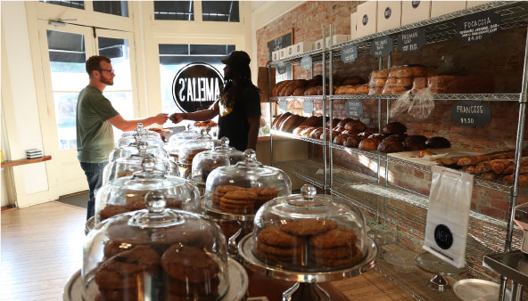 Amelia's baked goods in store